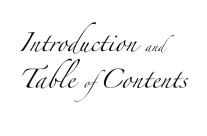 Introduction & Table of Contents